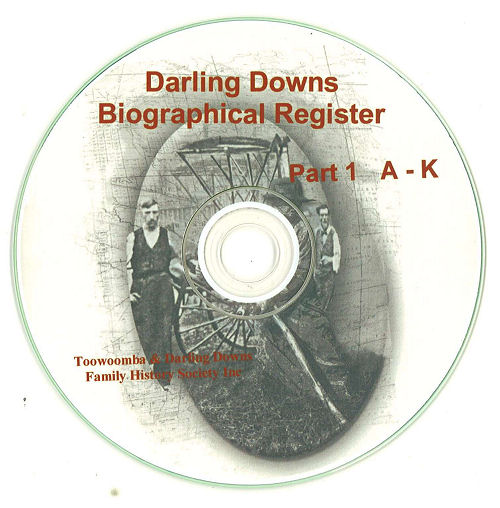 Darling Downs Biographical Register A-K on CD